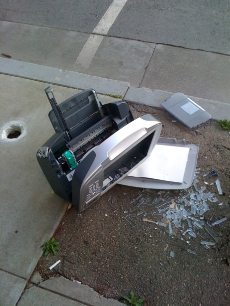 Printer out the window